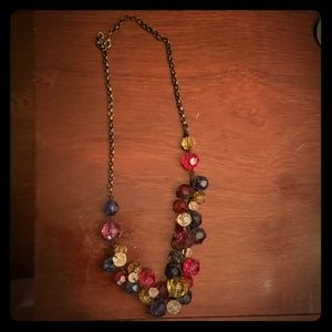 Multi Colored Bead Statement Necklace